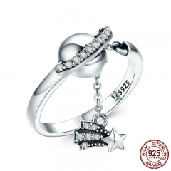 100% 925 Sterling Silver Bright Galaxy Sparkling Star Plant Finger Rings for Women Wedding Engagement Jewelry Gift SCR377 RING-0404