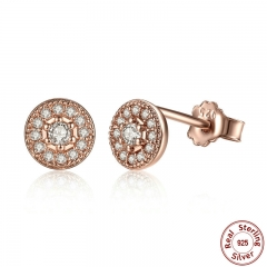 Elegant 925 Sterling Silver Radiant Elegance Clear CZ Women Round Stud Earrings Jewelry Brincos PAS451