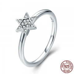 2018 New Genuine 925 Sterling Silver Sparkling Hexagram Clear CZ Finger Ring for Women Wedding Engagement Jewelry SCR278