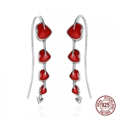 Authentic 925 Sterling Silver Fall in Love Blooming Heart Red Enamel Drop Earrings for Women Valentine Day Gift SCE257