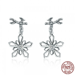 Genuine 100% 925 Sterling Silver Snow of Winter Snowflake Drop Earrings for Women Sterling Silver Jewelry SCE373