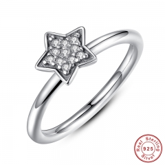 Authentic 100% 925 Sterling Silver Crystals Simple Star Clear CZ Fashion Jewelry Christmas Gift PA7127