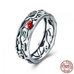 Hot Sale Authentic 925 Sterling Silver ladybug with Twisted Tree Leaves Ring for Women Sterling Silver Jewelry SCR308