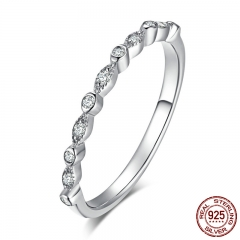 Authentic 925 Sterling Silver Dazzling AAA Zirconia Stackable Ring for Women Wedding Jewelry Girlfriend Gift SCR084