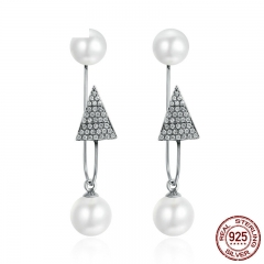 High Quality 925 Sterling Silver Sparking CZ Triangle Simulated Pearl Drop Earrings Women Sterling Silver Jewelry SCE136 EARR-0225