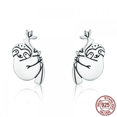 Hot Sale 100% 925 Sterling Silver Lovely Sloth Animal Small Stud Earrings for Women Sterling Silver Jewelry S925 SCE327 EARR-0345