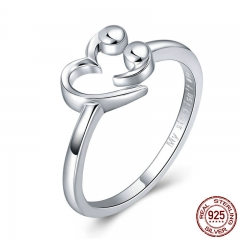 925 Sterling Silver Romantic Sweet Heart Finger Rings for Women Adjustable Size Wedding Jewelry Valentine Gift SCR421