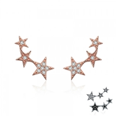 100% 925 Sterling Silver 3 Color Dazzling Stackable Star Stud Earrings for Women Authentic Silver Jewelry Bijoux SCE291 EARR-0304