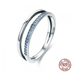 Hot Sale 100% 925 Sterling Silver Stackable Blue CZ Double Circle Layers Ring for Women Authentic Silver Jewelry SCR293