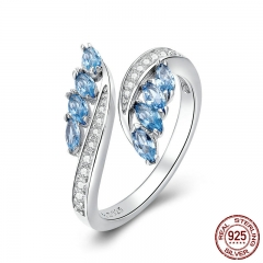 New Collection 925 Sterling Silver Butterfly Shape Light Blue CZ Finger Rings for Women Wedding Engagement Jewelry BSR005