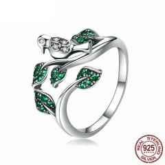 High Quality 100% 925 Sterling Silver Tree Leaves with Bird Finger Rings for Women Wedding Engagement Ring Jewelry BSR009 RING-0439