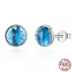 Genuine 925 Sterling Silver December Droplets London Blue Crystal Stud Earrings for Women Sterling Silver Jewelry PAS527