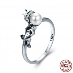 Spring Collection 925 Sterling Silver Frog with Prince Crown Finger Rings for Women Wedding Engagement Jewelry SCR287