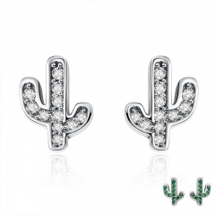 Spring Collection 100% 925 Sterling Silver White & Green Cactus Stud Earrings for Women Silver Jewelry Bijoux SCE286