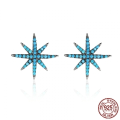 Hot Sale 925 Sterling Silver Trendy Sparking Star Elegant Stud Earrings for Women Authentic Silver Jewelry Bijoux SCE172