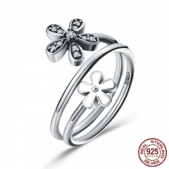 925 Sterling Silver Shimmering Bouquet, White Enamel & Clear CZ Flower Women Finger Ring Engagement Jewelry Gift SCR076
