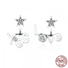 High Quality 100% 925 Sterling Silver Yes & Love Letter Star Shape Stud Earrings for Women Jewelry Girlfriend Gift SCE153