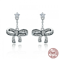 100% 925 Sterling Silver Sweet Dazzling Bowknot CZ Crystal Stud Earrings for Women Sterling Silver Jewelry Gift SCE403