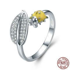 Insect Collection 925 Sterling Silver Yellow Ladybug Clear CZ Open Size Rings for Women Sterling Silver Jewelry BSR002 RING-0411