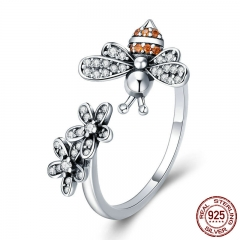 100% 925 Sterling Silver Trendy Bee & Daisy Flower Finger Rings for Women Adjustable Size Valentine Gift Jewelry SCR422 RING-0453