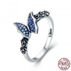 Spring Collection 925 Sterling Silver Butterfly & Flower Blue CZ Finger Rings for Women Sterling Silver Jewelry SCR285