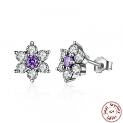 925 Sterling Silver Forget Me Not, Purple & Clear CZ Earrings for Women boucle d'oreille femme Fine Jewelry PAS463