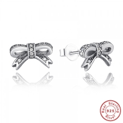 Delicate 100% 925 Sterling Silver Sparkling Bow Stud Earrings With Clear CZ Women Party Luxury Jewelry PAS407