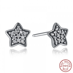 Authentic 925 Sterling Silver Five-pointed Star Stud Earrings With Clear CZ Fashion Design Jewelry PAS408