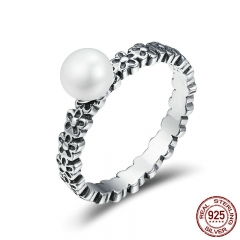 Genuine 925 Sterling Silver Stackable Ring Fresh Water Pearl Flower Finger Rings for Women Engagement Jewelry Gift SCR188