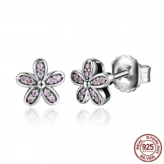 Authentic 925 Sterling Silver Light Pink Vivid Daisy Flower Stud Earrings Women Fashion Jewelry Christmas Gift SCE031-1L