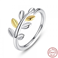 925 Sterling Silver Laurel Leaves Ring with Two Luxurious Leaves Original Jewelry for Women Wedding Ring Female PA7155