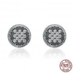 100% 925 Sterling Silver Unique Mosaic Round Dazzling Clear CZ Female Stud Earrings for Women Fine Jewelry Gift SCE138