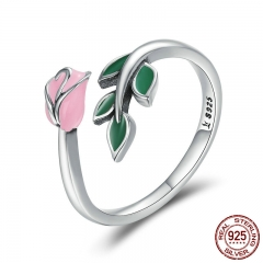 Authentic 925 Sterling Silver Rose Flower Tree Leaves Enamel Female Finger Rings for Women Engagement Ring Jewelry SCR226