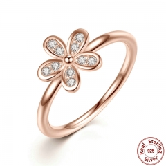 925 Sterling Silver Rings Dazzling Daisy, & Clear CZ Finger Ring Classic Wedding Jewelry PA7188