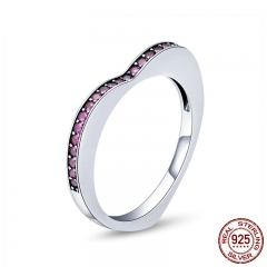 925 Sterling Silver Simple Geometric Finger Ring Pink Crystal Heart Rings for Women Sterling Silver Jewelry Anel SCR427 RING-0459