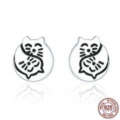 Fashion New 925 Sterling Silver Cat Whisper Tales Female Stud Earrings for Women Sterling Silver Jewelry Gift SCE183