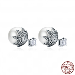 Genuine 925 Sterling Silver Elegant Double Side Ball Exquisite Stud Earrings for Women Sterling Silver Jewelry SCE234