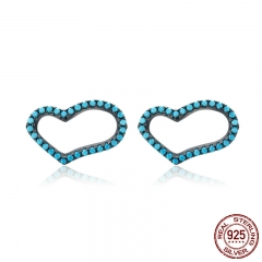 Authentic 925 Sterling Silver Blue Crystal Unique Heart Stud Earrings for Women Sterling Silver Jewelry Gift SCE132