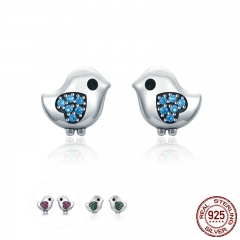 Hot Sale 925 Sterling Silver 3 Color Little Bird Heart Engrave Crystal CZ Stud Earrings for Women Fine Jewelry SCE320