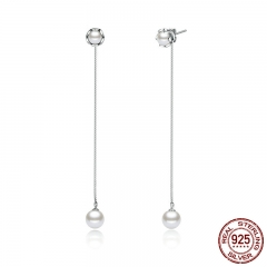 Classic 100% 925 Sterling Silver Earring With Pearls Push-back Long Drop Earrings for Women Pearl Jewelry SCE008