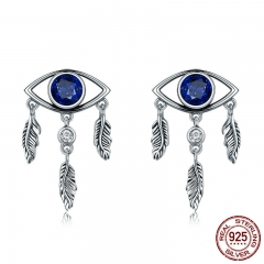 New Trendy 100% 925 Sterling Silver Guarding Blue Eyes Feathers Stud Earrings for Women Sterling Silver Jewelry SCE391
