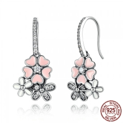 100% 925 Sterling Silver Pink Flower Poetic Daisy Cherry Blossom Drop Earrings with Pearl Back Jewelry SCE016