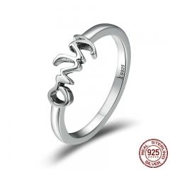 New Trendy 925 Sterling Silver Only You Letter Engrave Finger Rings for Women Wedding Engagement Jewelry Anel SCR190