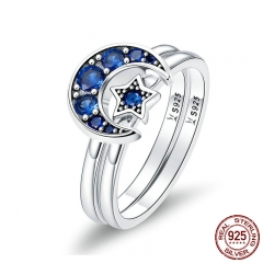 Authentic 925 Sterling Silver Blooming Moon and Star Blue CZ Female Rings for Women Sterling Silver Jewelry Anel SCR412