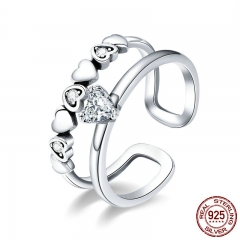 925 Sterling Silver Elegant Heart to Heart Clear Cubic Zircon Open Size Rings for Women Sterling Silver Jewelry SCR429