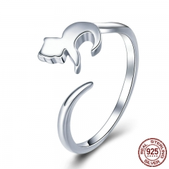 925 Sterling Silver Adorable Cat Long Tail Finger Rings for Women Adjustable Size Wedding Engagement Jewelry Gift SCR420