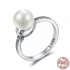 Authentic 925 Sterling Silver Luminous CZ & Imitation Pearl Finger Rings for Women Luxury Sterling Silver Jewelry SCR167