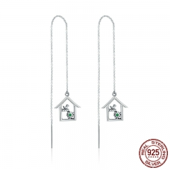 New Arrival 925 Sterling Silver Spring Collection House Home Shape Long Chain Drop Earrings for Women Jewelry Gift SCE307