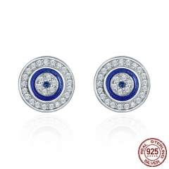 Hot Sale Authentic 925 Sterling Silver Blue Eye Round Stud Earrings for Women Fashion Sterling Silver Jewelry SCE148 EARR-0254