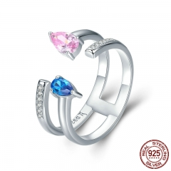 Genuine 100% 925 Sterling Silver Pink & Blue Crystal CZ Adjustable Finger Ring Female Ring Sterling Silver Jewelry SCR252